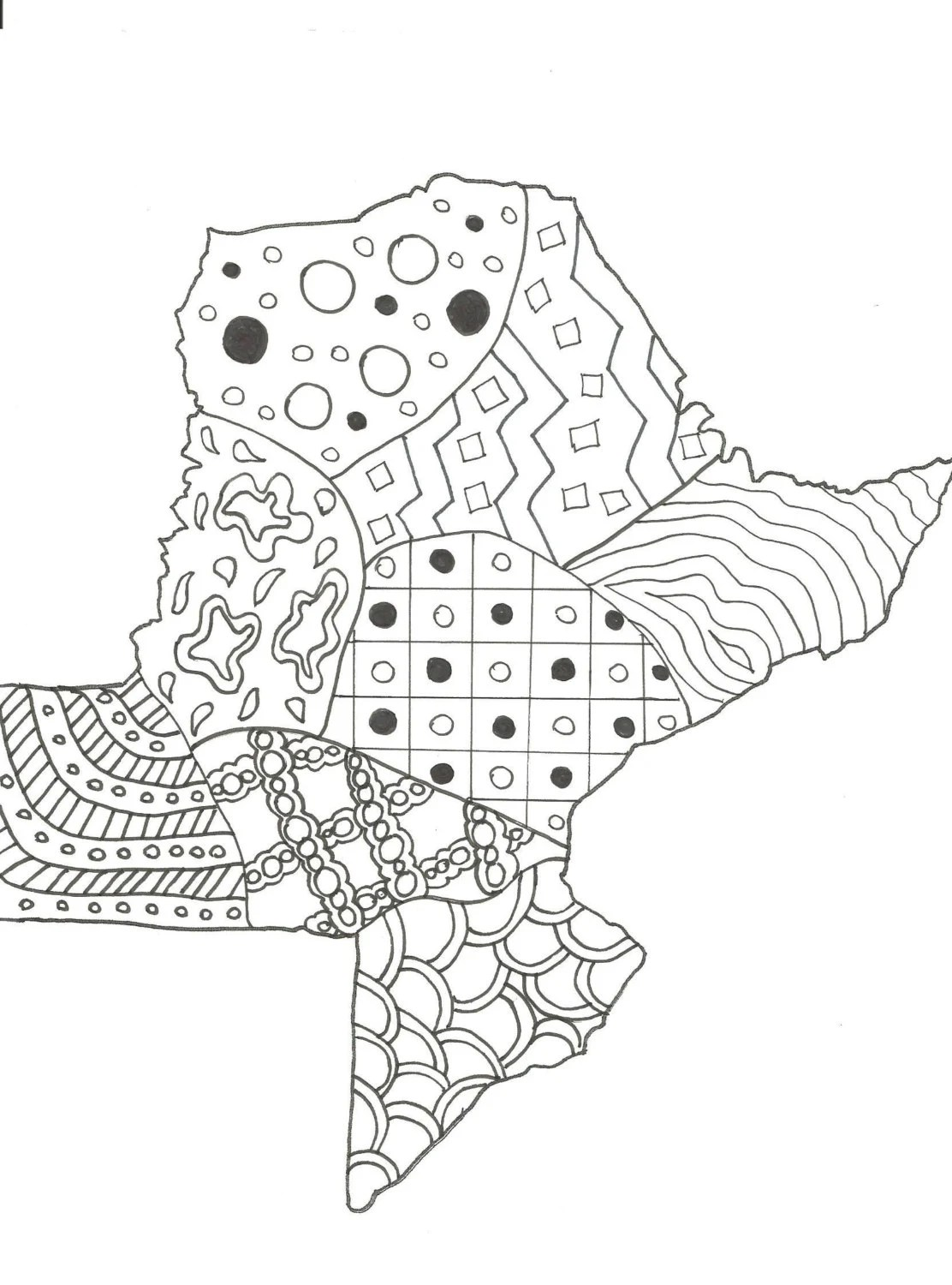 Printable coloring page. Zendoodle. State map of Texas.