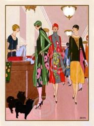 deco flapper ladies posters illustration shopping print dogs prints etsy 1925 illustrations woman 1920 giclee vogue department pomperanian dress visit