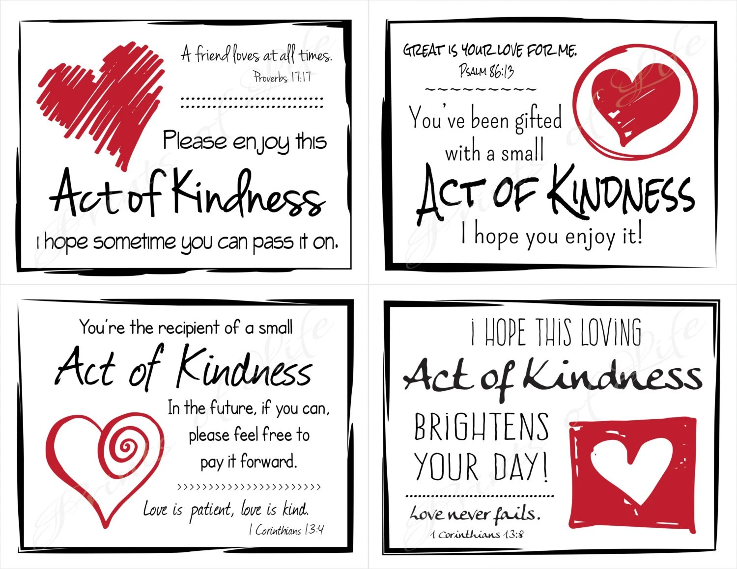 Love Random Act Of Kindness Cards Instant Download