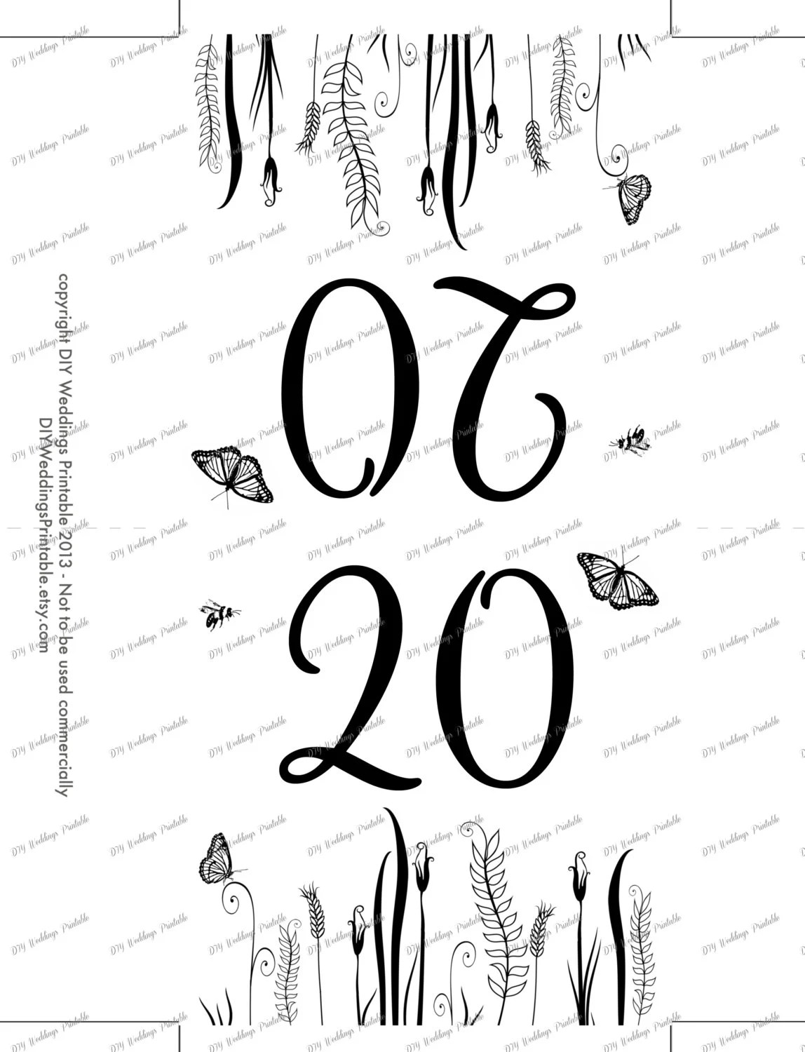 Rustic table numbers template Butterfly Meadow number