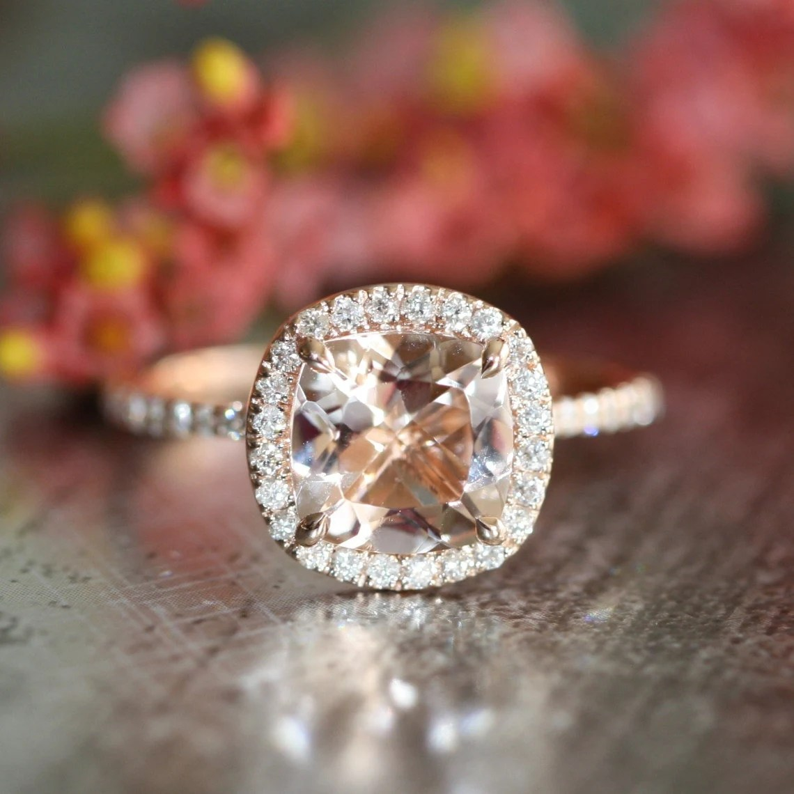 Halo Diamond Morganite Engagement Ring In 14k Rose By