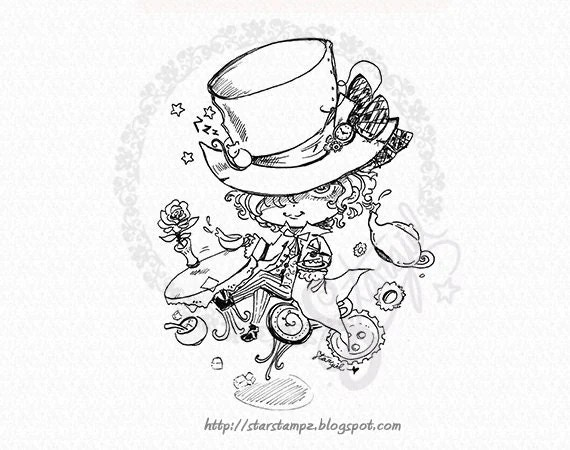 Mad Hatter Chibi DIGITAL STAMP Instant Download