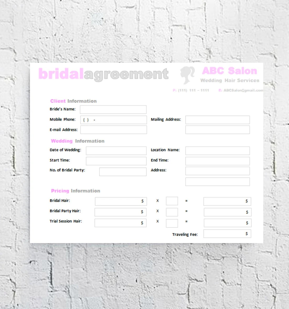 Hair Stylist Bridal Agreement Contract Template Editable