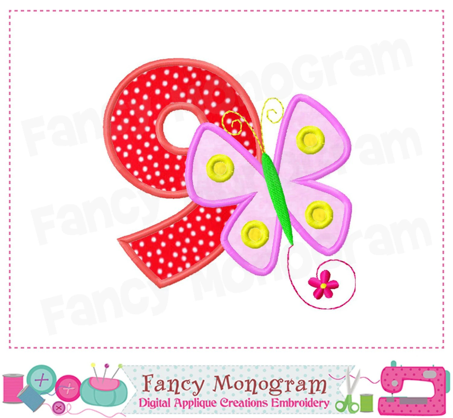 Butterfly Number 9 Appliquebutterflybirthday Number 9