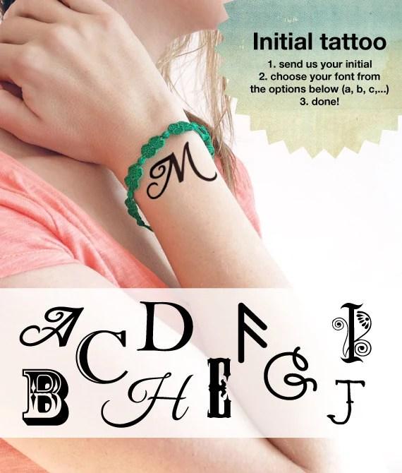 initial custom temporary tattoos