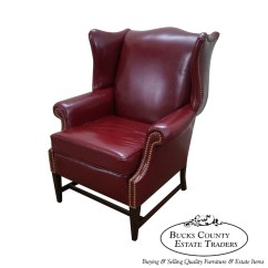 Red Leather Wingback Chair Patio Recliner Lounge Vintage Mahogany Chippendale Style Wing