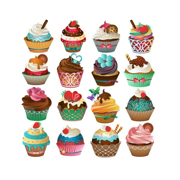 cute cupcake clipart set of 16