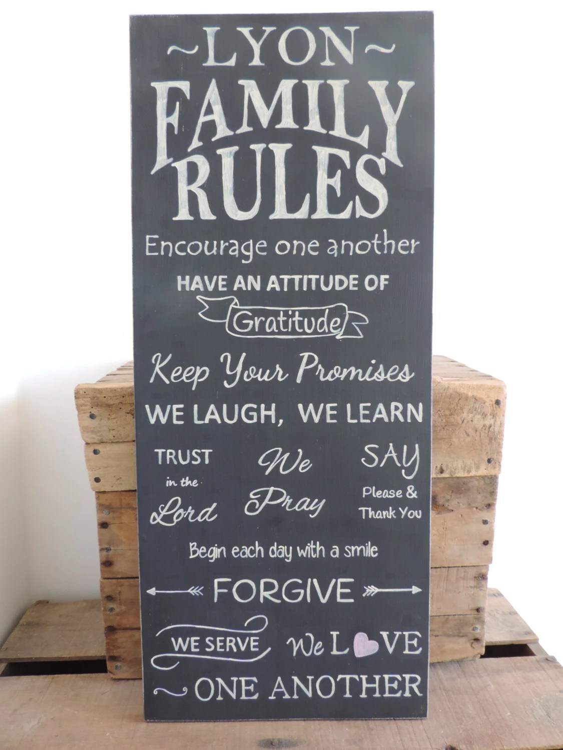 Personalized Family Rules Wooden Sign Hand Painted Family