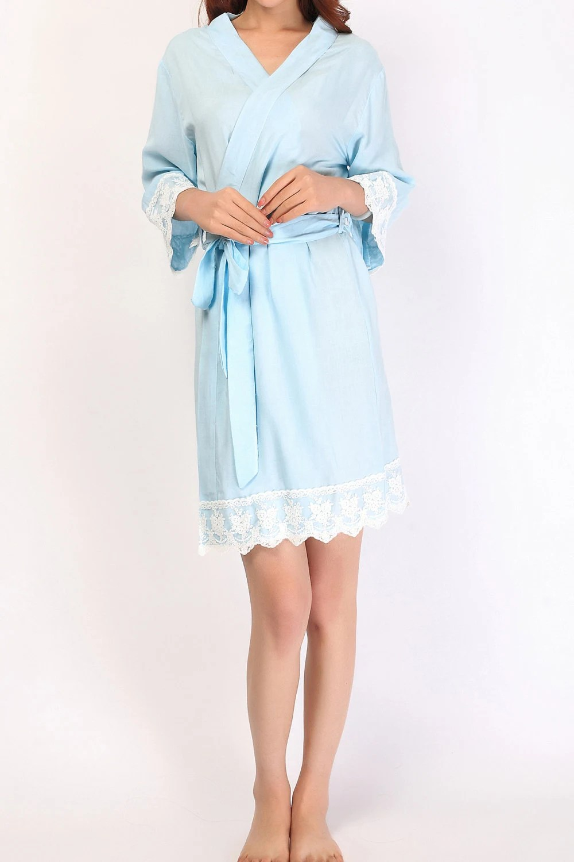 bridesmaid robe light blue cotton robes kimono robes by SOFTAMOR