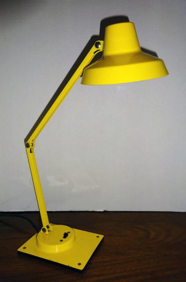 Mid Century Tensor Desk Lamp Vintage Yellow Metal Articulating