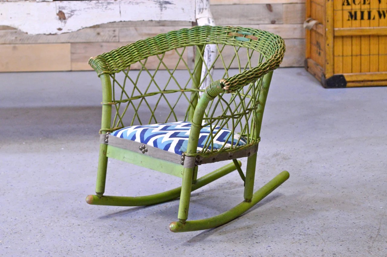 vintage wicker rocking chair beans for bean bag childs green by