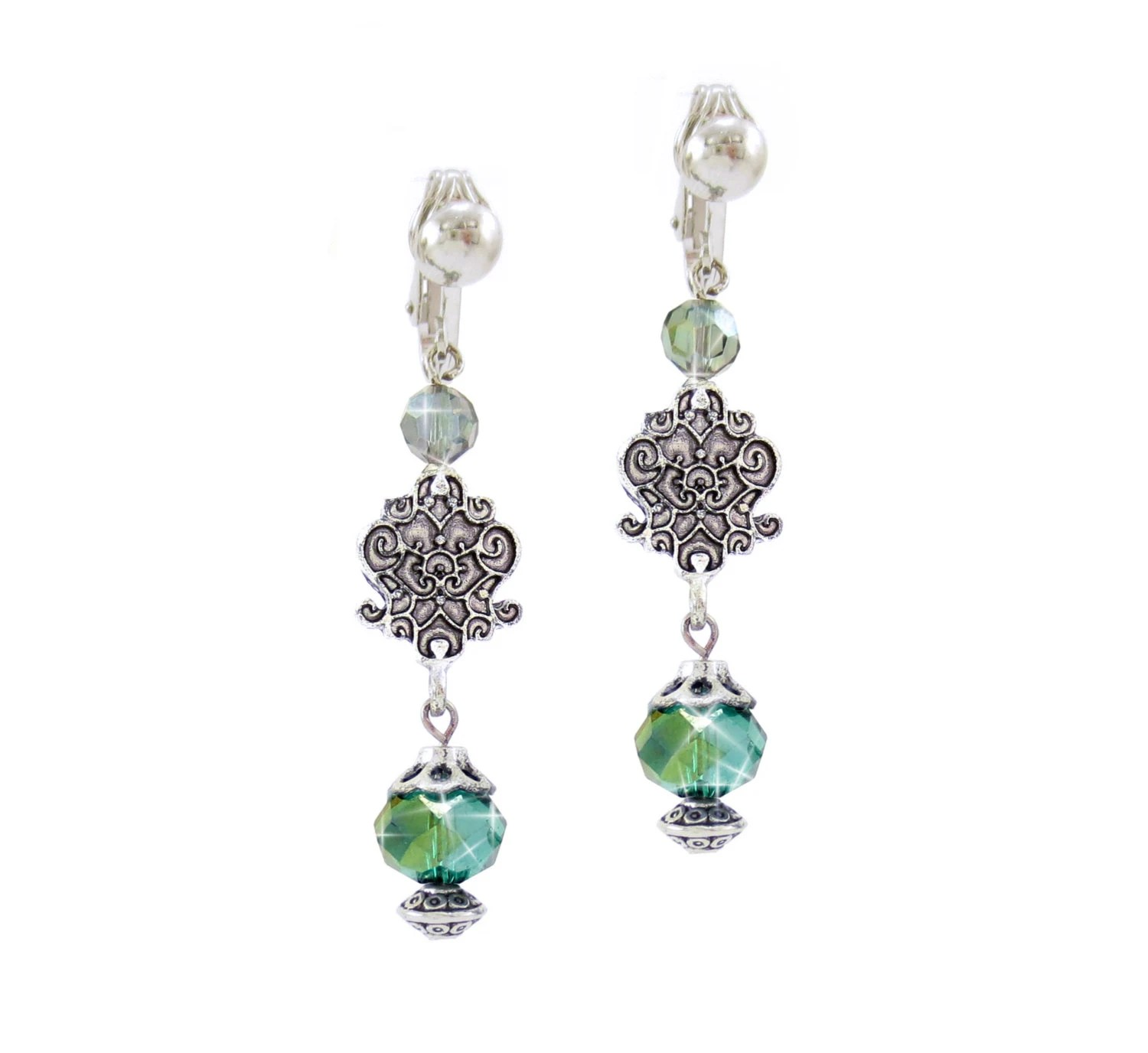 Classic Designs Scroll Jewelry Small Linear Teal Green AB