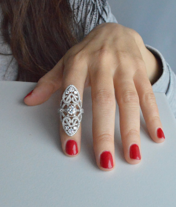 Art Deco Full Finger Ring Sterling Silver Talon Ring Cubic