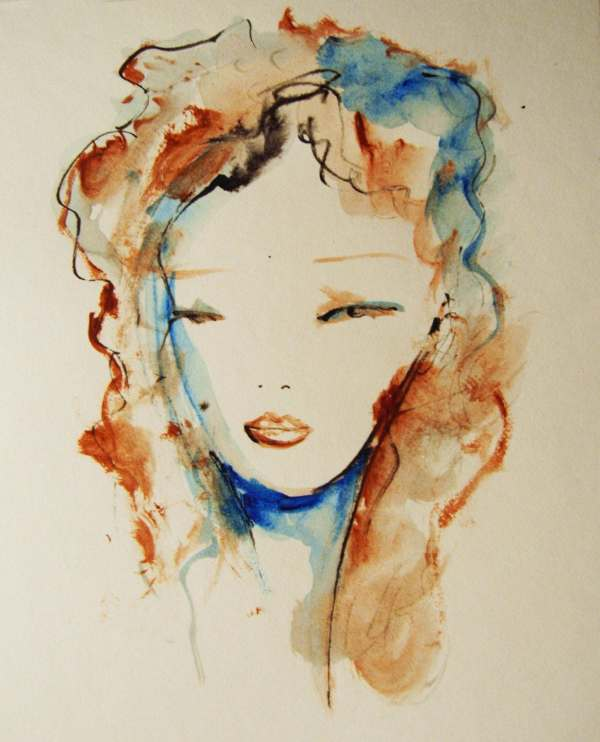 Face Painting Original Ink And Acrylic Drawing Womans