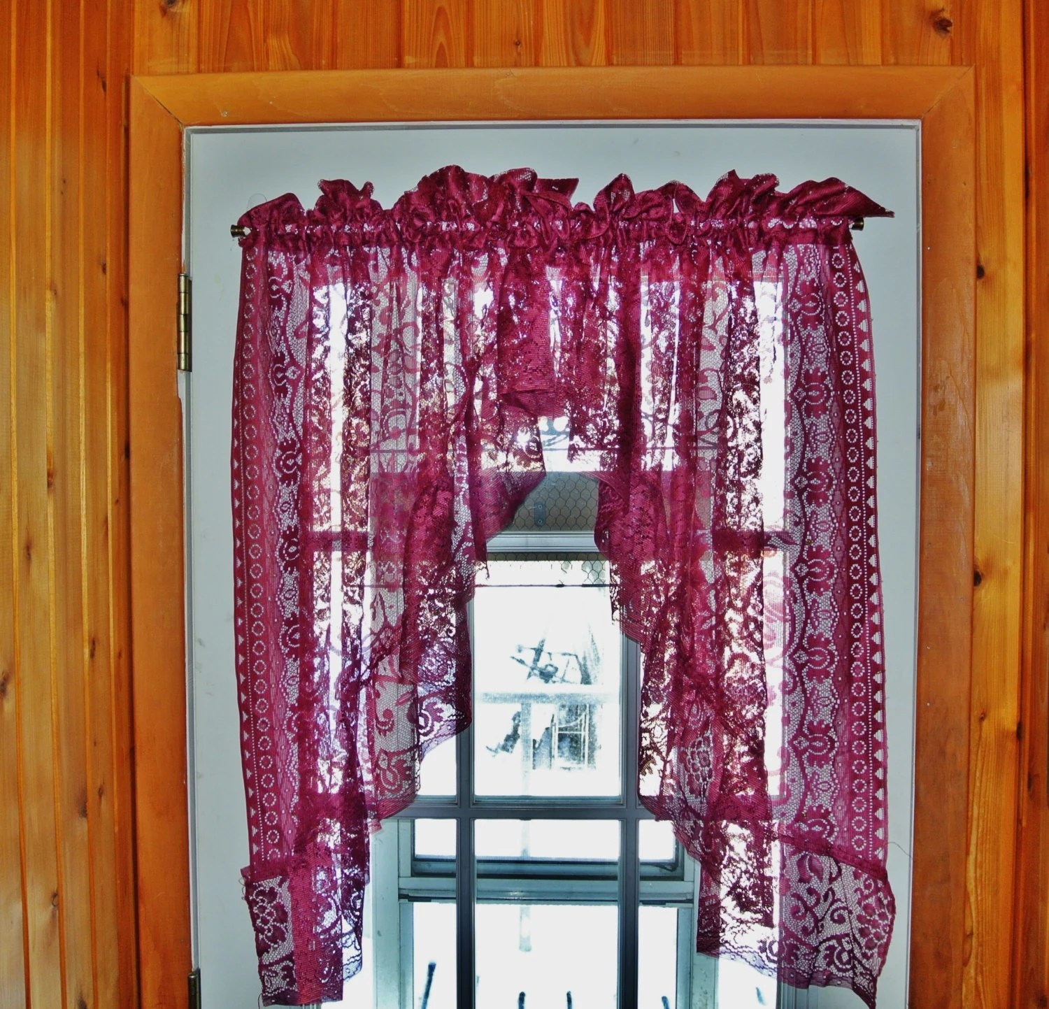 Burgundy Curtains Wine Lace Curtains Shabby Chic Valance