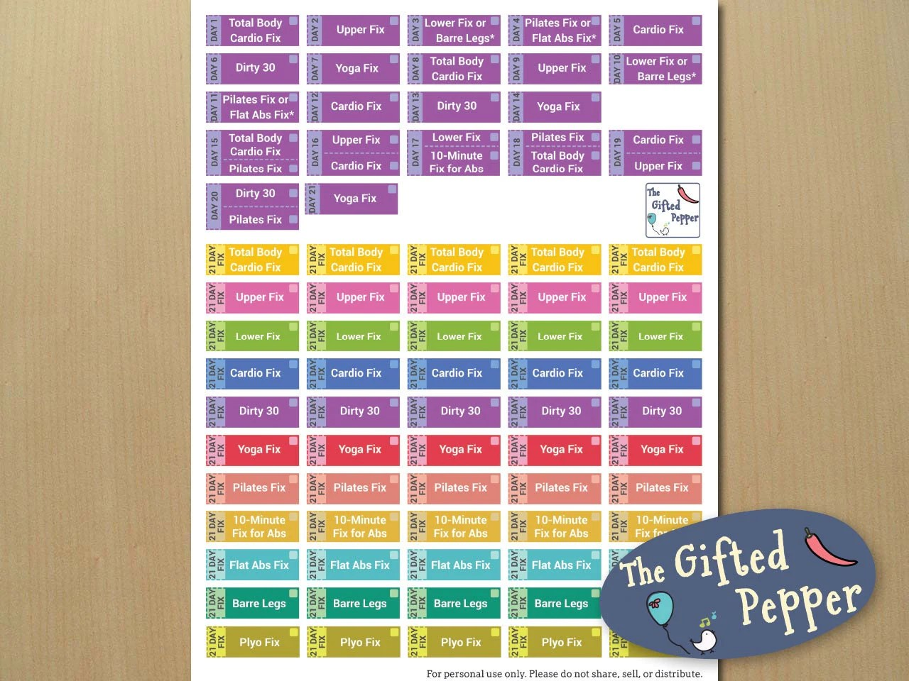 21 Day Fix Stickers Printable Beachbody 21 Day By The Tedpepper