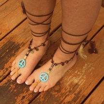 Peace Sign Turquoise Barefoot Sandals Leather