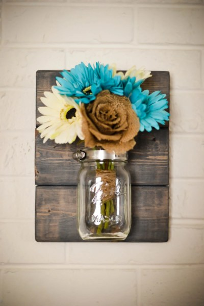 rustic mason jar wall decor Rustic Mason Jar Wall Sconce Wall Vase Wedding Decor