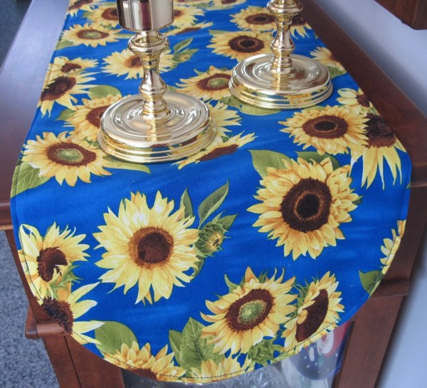 Blue Sunflower Table Runner 36 Vibrant
