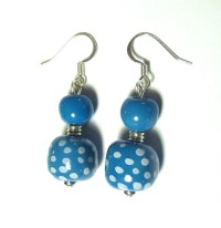 Kazuri Bead Earrings Turquoise and White by lizbriggsdesigns