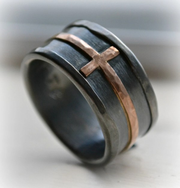 Mens Cross Wedding Band Rustic Hammered Ring Oxidized