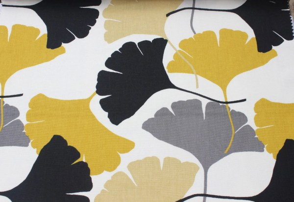 Mustard Yellow Ginkgo Fabric By The Yard Curtain Upholstery Fabric Curtain Panel Drapery Fabric ...
