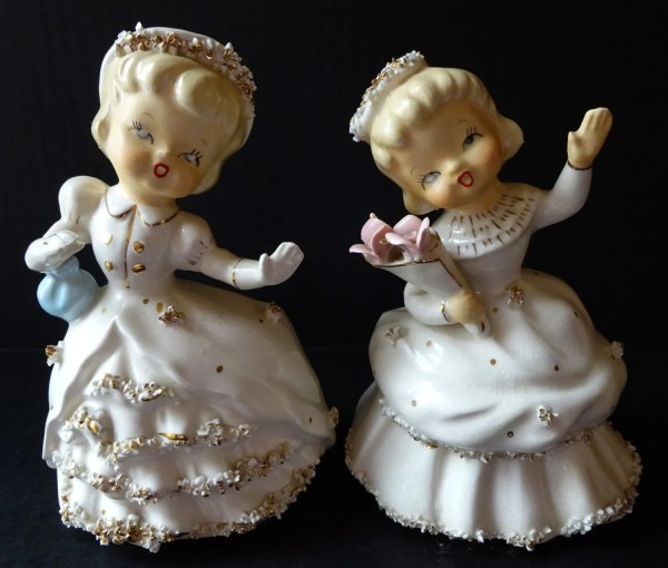 Vintage Lefton Figurines Planters Set Of 2 1950' Women