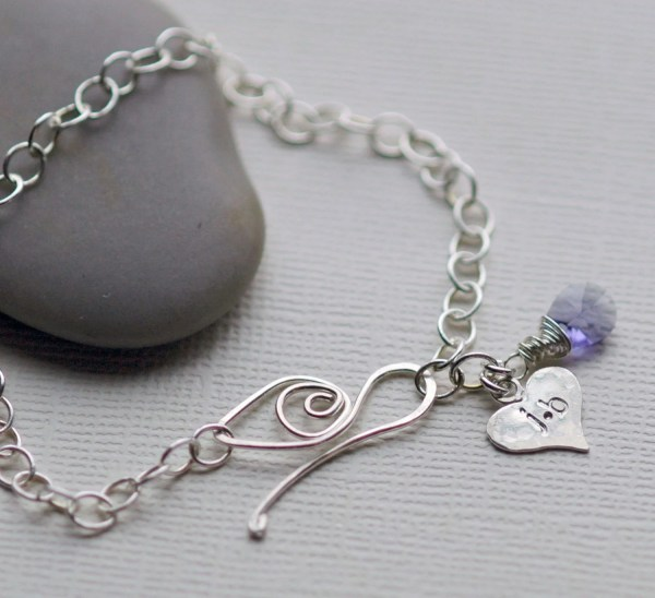 Personalized Charm Bracelet Heart Charm Birthstone Bracelet