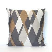 Decorative 18x18 Grey Brown Pillows Geometric Diamond Accent
