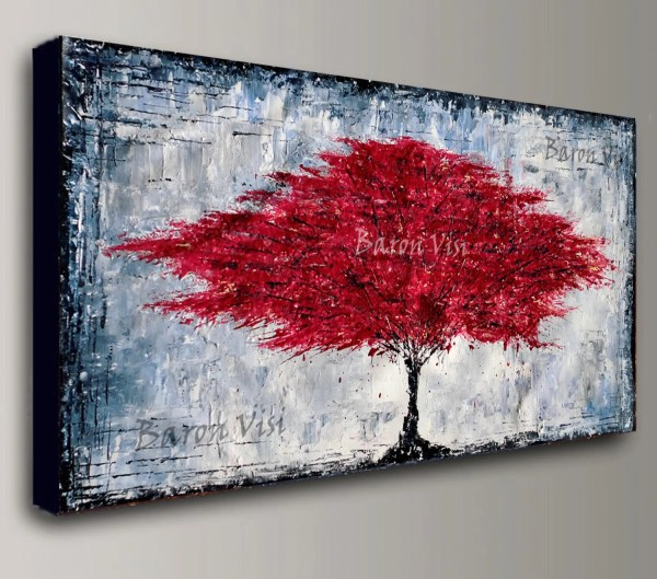 Red Abstract Paintings On Canvas