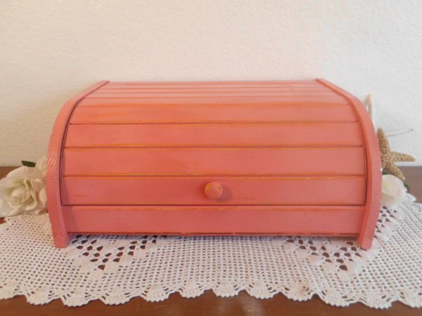 Coral Bread Box Rustic Shabby Chic Distressed Wood Storage