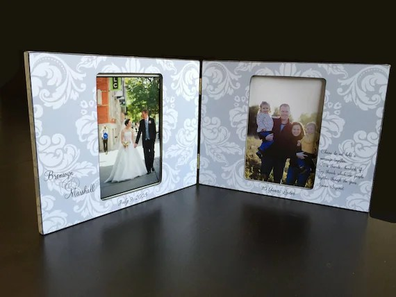 Double Picture Frame Personalized Wedding Gift Two Photo Frame