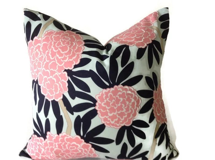 Caitlin Wilson Navy Fleur Chinoise Pillow Cover In Blue And