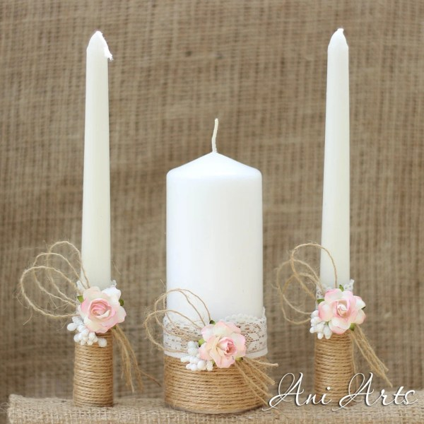 Rustic Wedding Set Unity Candles And Champagne Glasses Country