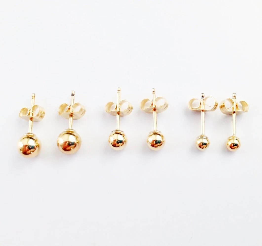 Gold Ball Earrings / Gold Stud Earrings / Gold Filled Earrings