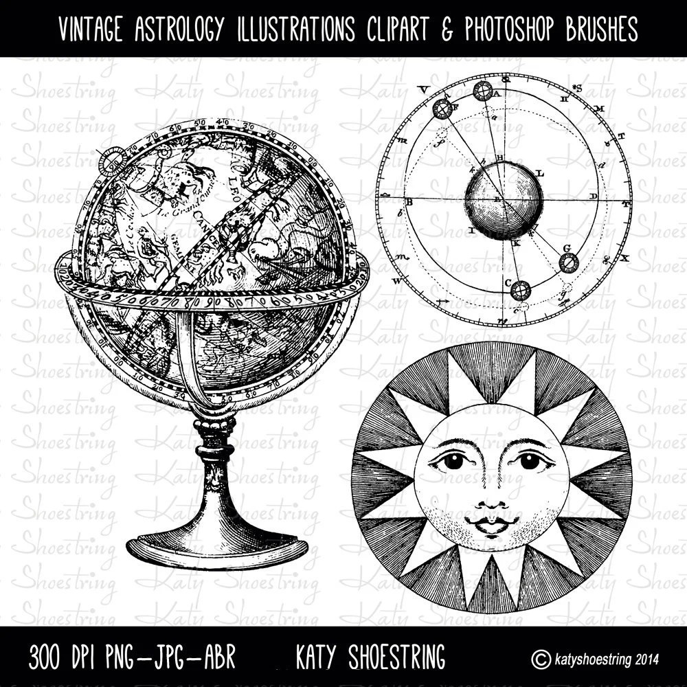 Vintage Astrology Clipart, Photoshop Brushes, Instant