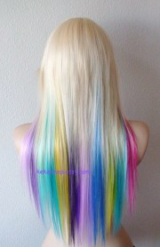 items similar rainbow wig. blonde
