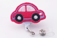 Volkswagen Bug Car Retractable Name Badge Holder on a White
