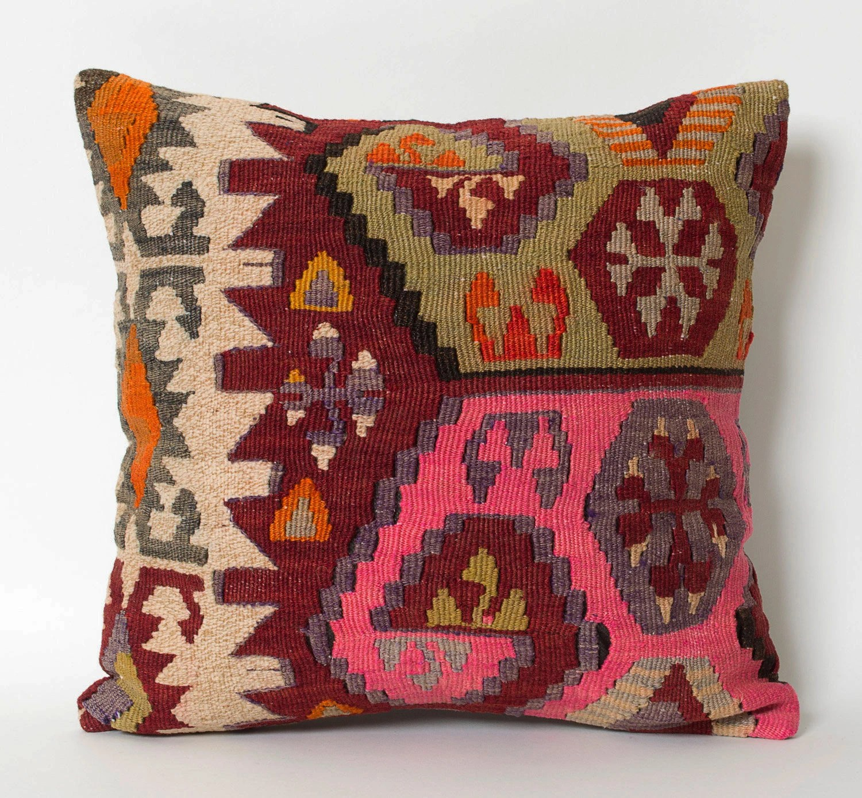 pink throw pillows for sofa ashton corner reviews kilim pillow cover decorative maroon red