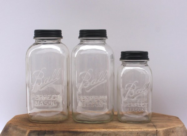mason jar canister set kitchen Vintage Mason Jar Clear Kitchen Canister Set by HereOnTheFarm