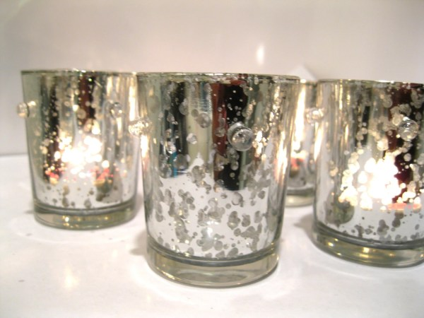 Mercury Glass Votive Candle Holders 10 Silver