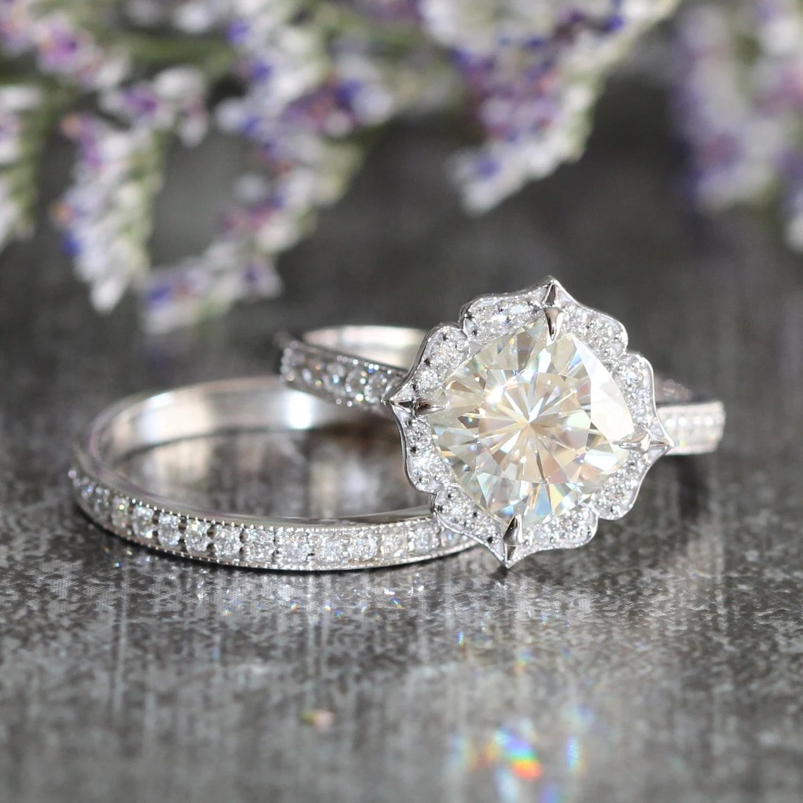Bridal Set Moissanite Floral Engagement Ring and by