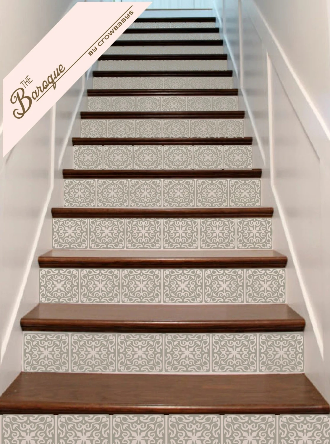 Stair Stickers Ornate Vinyl Tile Decals For Stair Risers   Stair Riser Tiles Designs