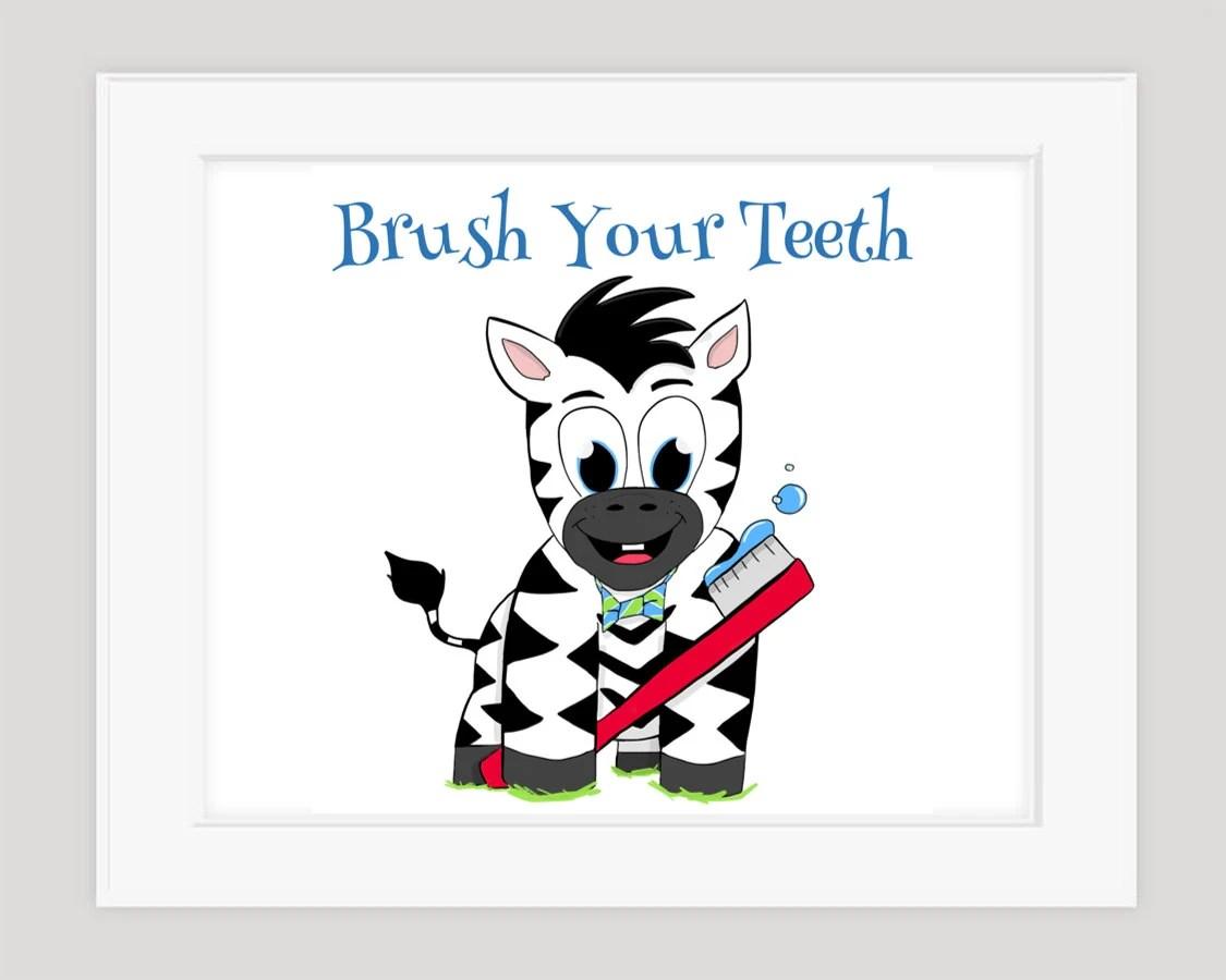 Zebra Brush Your Teeth Children's Bath Art 8x10 Print