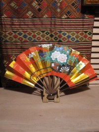 Vintage Japanese Folding Fan with Bamboo Display Holder