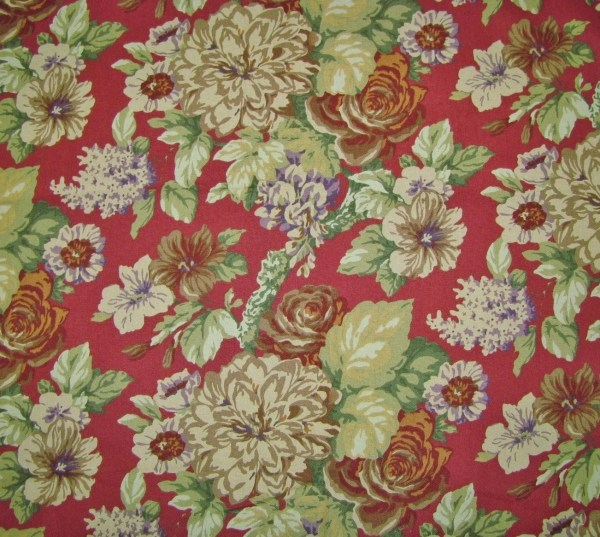 Home Decorator Fabric Dark Red Floral Upholstery