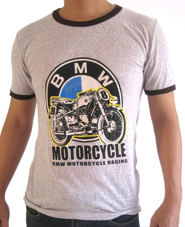 Vintage Bmw Motorcycle T-shirt Classic Design Thin Fabric