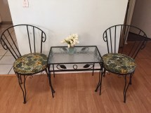 Vintage Retro 1960s 1970s Outdoor Wrought Iron Table And