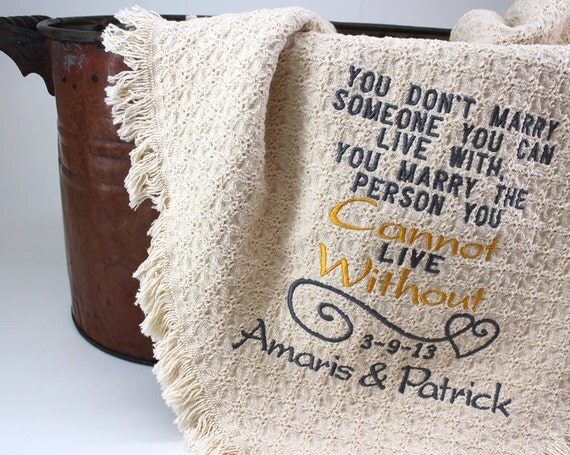 2nd Anniversary Cotton Gift Personalized Embroidered Throws