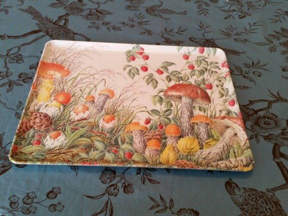 Vintage mebel Italy Melamine Tray Mushrooms Hippie Forest
